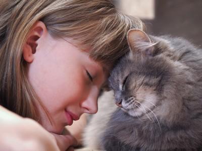 Les enfants et le chat mature